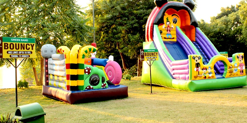 A bouncy house in the park premises.