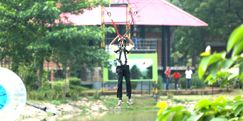 Zip lining activity in the park premises.