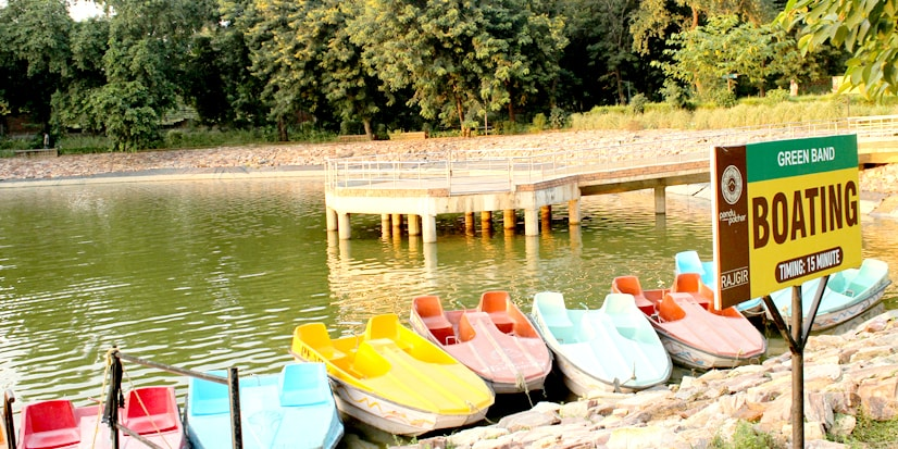 Boats lined by on the shores of the lake.