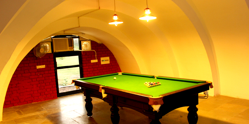 Pool table in the room.