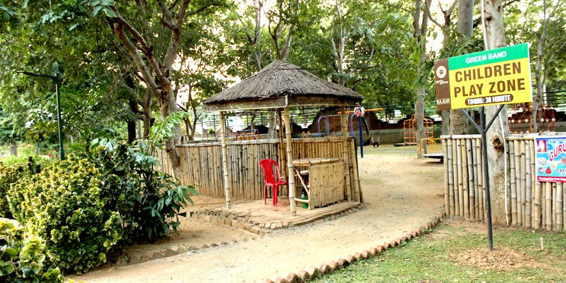 Different kinds of swings in the childrens play area.