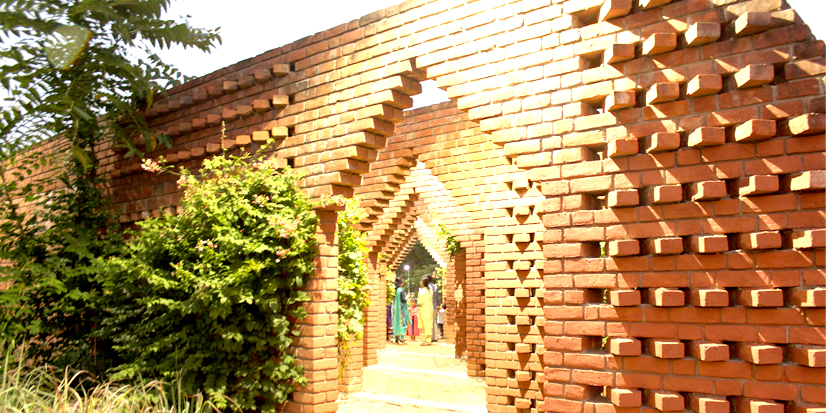 A beautiful structure made with bricks in the park premises.