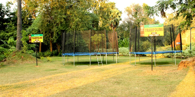 Arrangements for Trampoline in the outdoors.