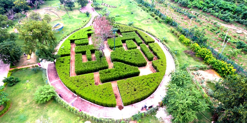 Top view of the park inside the premises of the Pandu Pokhar.