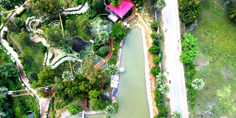 Top view of the entire premises of the Pandu Pokhar.