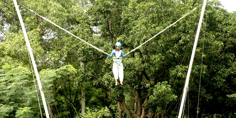Arrangements for Bungee jumping in the park premises.