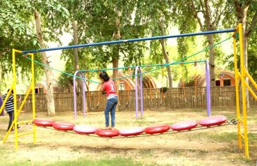 Different kinds of swings in the childrens play area