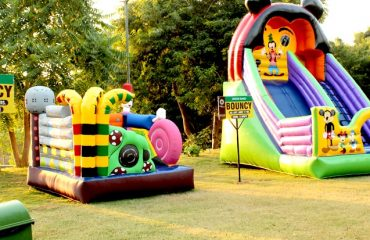 A bouncy house in the park premises