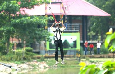 Zip lining activity in the park premises