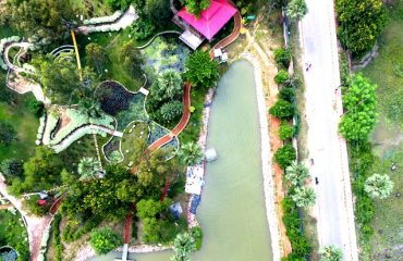 Top view of the entire premises of the Pandu Pokhar