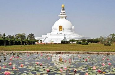 View of Shanti Stupa from a distance