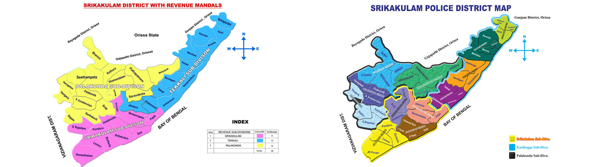 Srikakulam District Revenue Mandals and Police Map