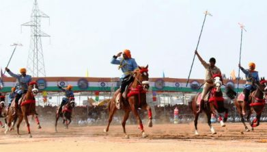 Dhvaj vandan Ceremony Horse Riding image