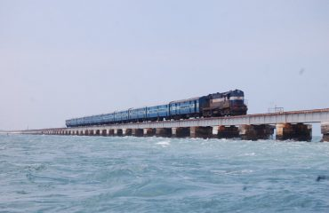 Train at Pamban bridge
