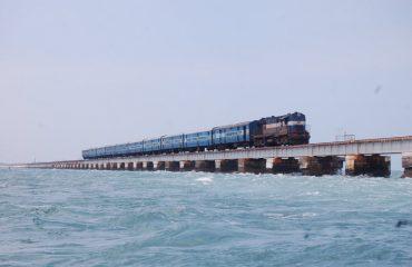 Train at Pamban bridge