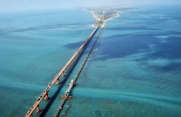 Pamban bridge - aerial view