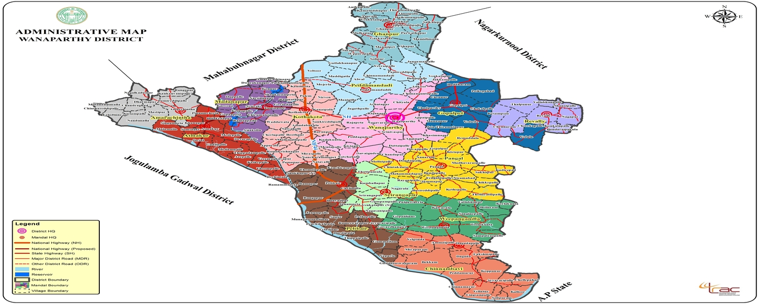 Wanaparthy District Map..