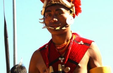 Yimchunger Tribesman in traditional headgear and ornaments