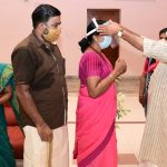 COVID 19 - Minister T.M. Thomas Issac giving face shield for ASHA workers 2020
