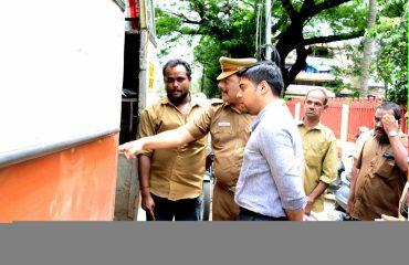 District Collector inspecting private buses that run without doors