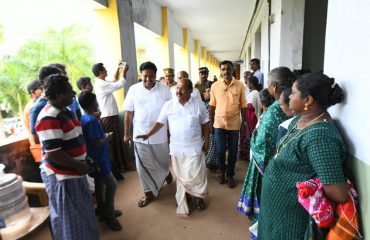 PWD minister G.Sudhakaran visiting relief camps