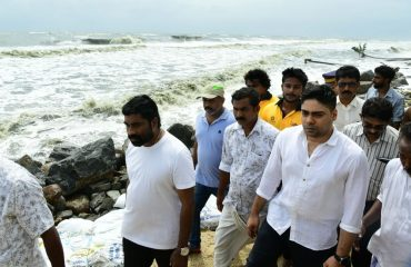 District collector visiting sea attacked area